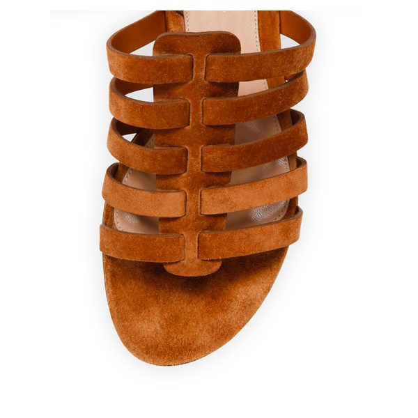 Tan Flats Gladiator Sandals Suede Strappy Summer Sandals image 2