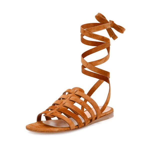 Tan Gladiator Sandals Comfortable Flats Strappy Sandals image 1