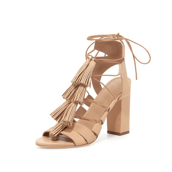 Women's Apricot Color Tassels Gladiators Sandals image 1