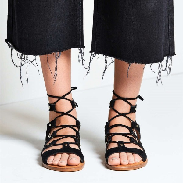 8ec260a134e Black Gladiator Sandals Suede Lace up Flats Comfortable Shoes image 1 ...