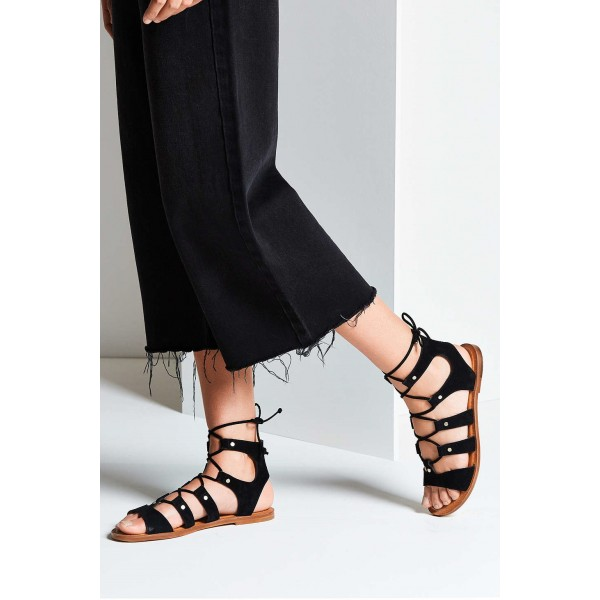 Black Gladiator Sandals Suede Lace up Flats Comfortable Shoes image 4