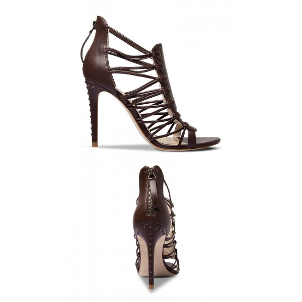 Dark Brown Strappy Sandals Open Toe Alligator Print Stiletto Heels image 2