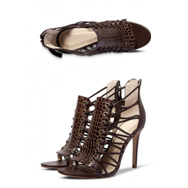 Women's Black Chocolate Pencil Heel Gladiator Sandals  image 4