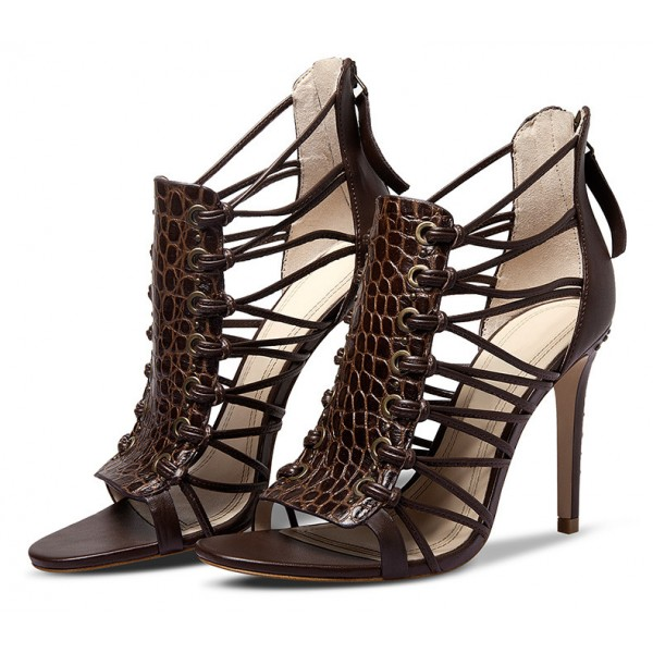 Dark Brown Strappy Sandals Open Toe Alligator Print Stiletto Heels image 1