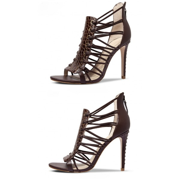 Dark Brown Strappy Sandals Open Toe Alligator Print Stiletto Heels image 3