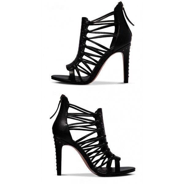 Black Stiletto Heels Hollow out Open Toe Sandals for Women image 3