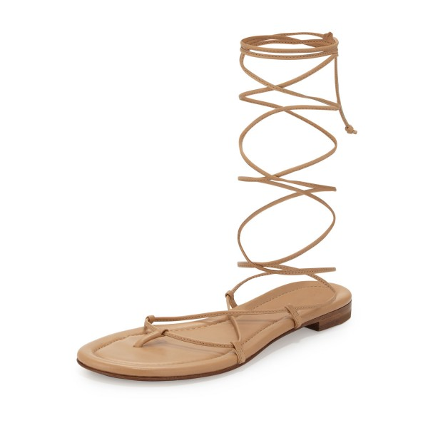 Women's Apricot Color Strappy Flat Gladiator Sandals image 1