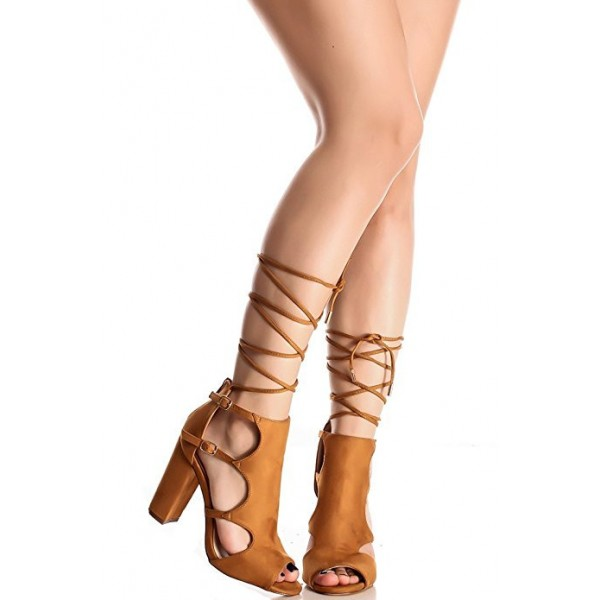 Tan Strappy Sandals Buckles Peep Toe Block Heels  Gladiator Heels image 1