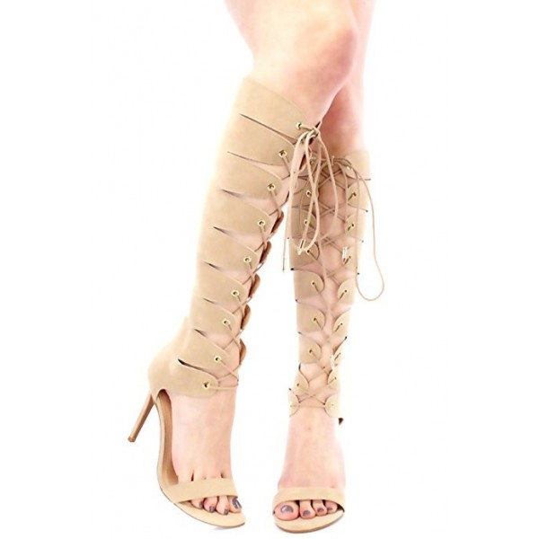 Women's Apricot Open Toe Lace-up Stiletto Heel  Knee-high Gladiator Sandals image 1