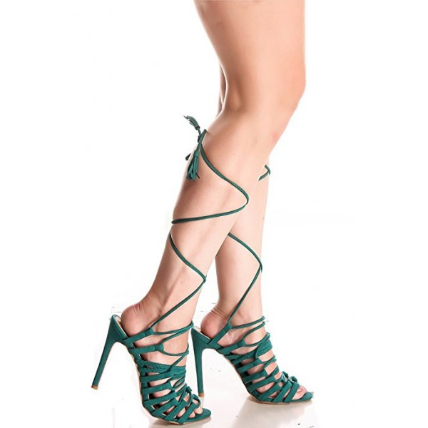 Women's Dark Green Stiletto Heel Strappy Sandals Gladiator Heels image 2