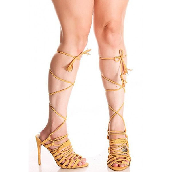 Women's Yellow Peep Toe Stiletto Heel Sandals Strappy Heels image 1