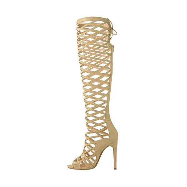 Khaki Gladiator Heels Hollow out Caged Knee-High Stiletto Heel Sandals image 1