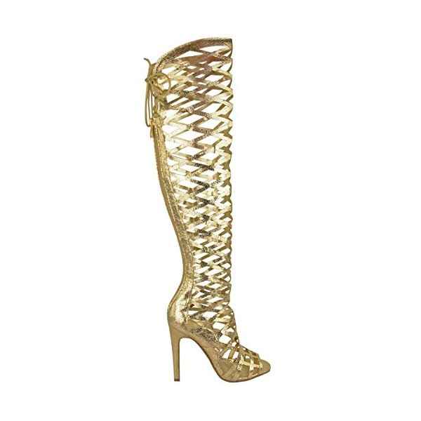 Golden Open Toe Hollow-out Strappy Stiletto Gladiator Heels Sandals image 2