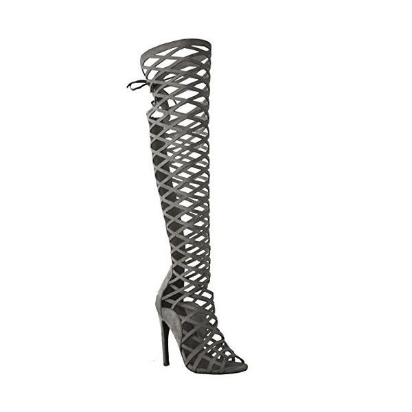 Dark Grey Hollow-out Knee-high Stiletto Heel Sandals Gladiator Heels image 2