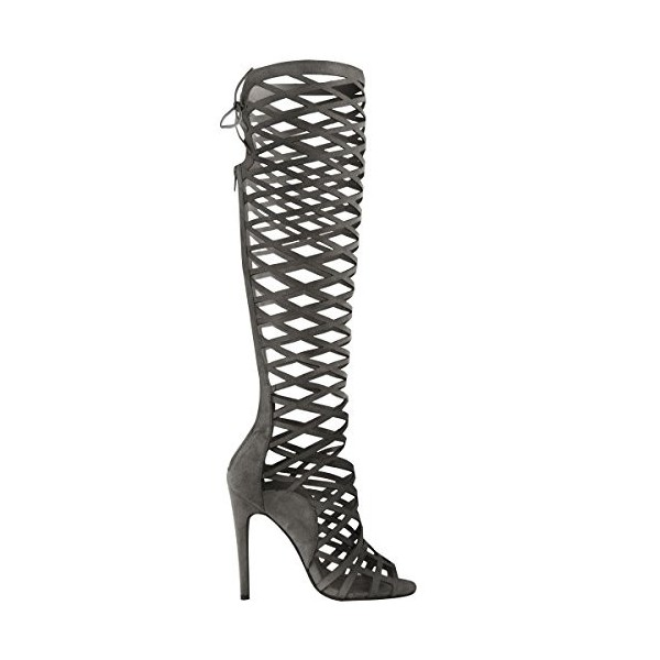 Women's Dark Grey Hollow-out Knee-high Stiletto Heel Gladiator Sandals image 3