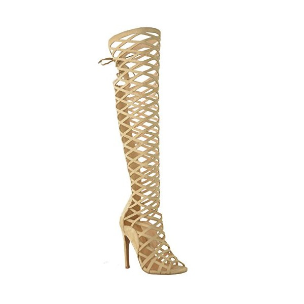 Khaki Gladiator Heels Hollow out Caged Knee-High Stiletto Heel Sandals image 2