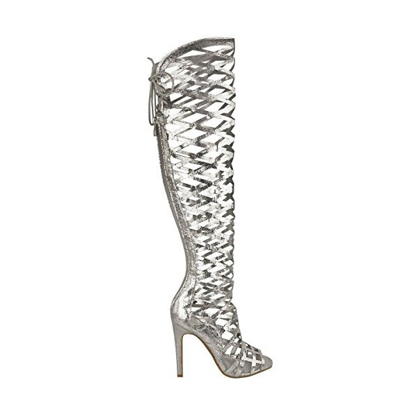 Women's Silver Stiletto Heels Hollow Out Knee-high Gladiator ...