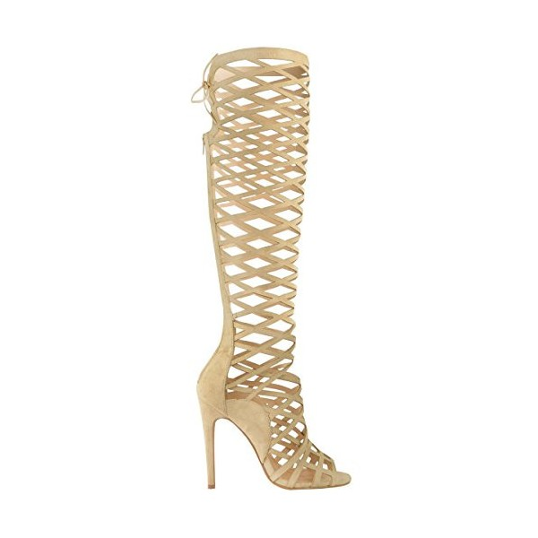 Khaki Gladiator Heels Hollow out Caged Knee-High Stiletto Heel Sandals image 3