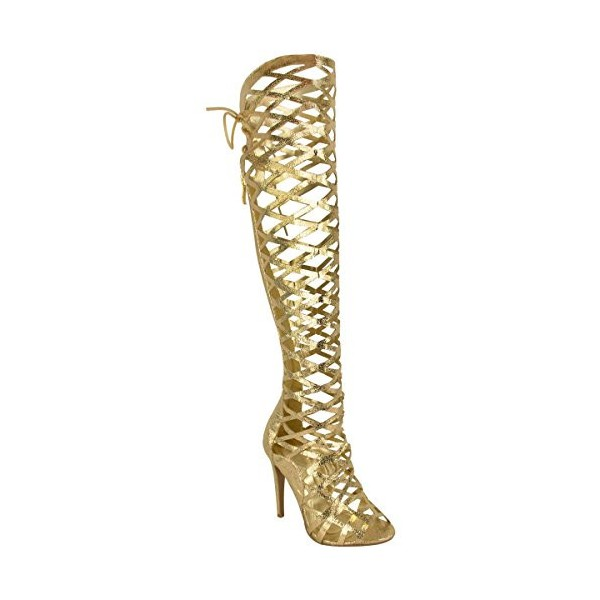 Women's Golden Open Toe Glitter Hollow-out Stiletto Heel Gladiator Sandals image 3