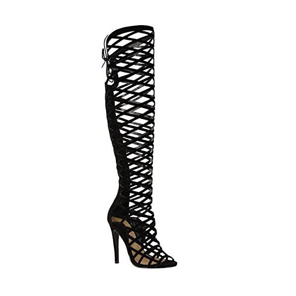 Women's Black Hollow-out Nets Knee-high Stiletto Heel Gladiator Boots image 2