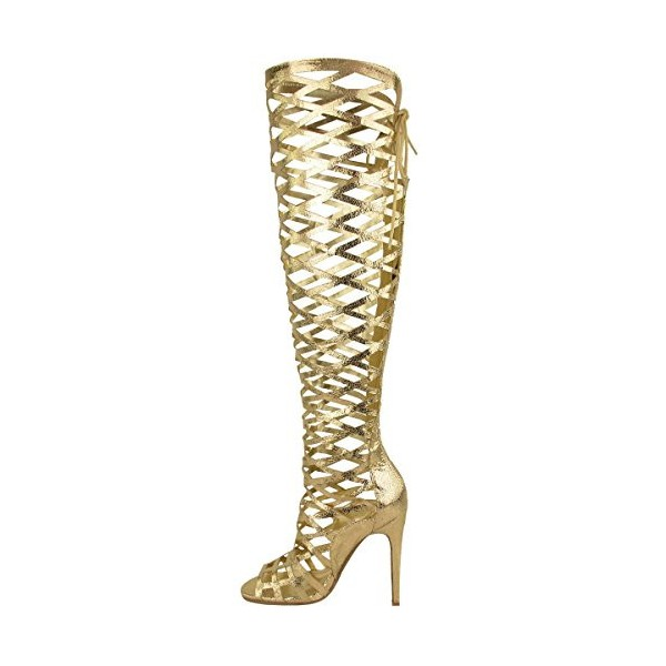 Golden Open Toe Hollow-out Strappy Stiletto Gladiator Heels Sandals image 1