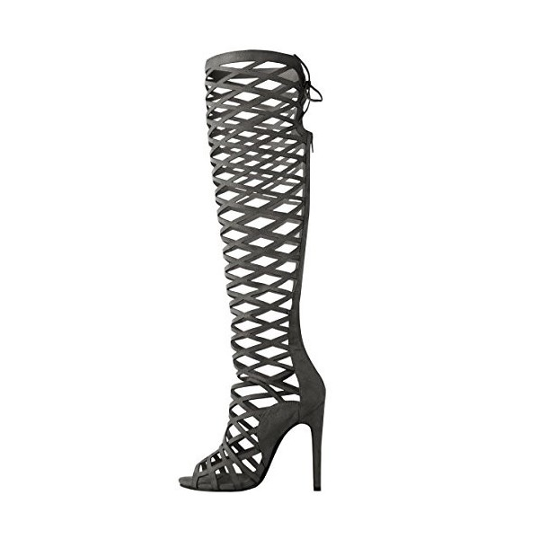Dark Grey Hollow-out Knee-high Stiletto Heel Sandals Gladiator Heels image 1