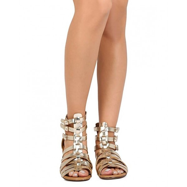 Women's Champagne Hollow-out Gladiator Sandals Open Toe Strappy Comfortable Flats  image 2