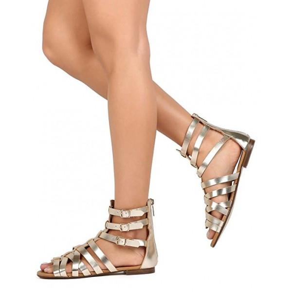 Women's Champagne Hollow-out Gladiator Sandals Open Toe Strappy Comfortable Flats  image 1