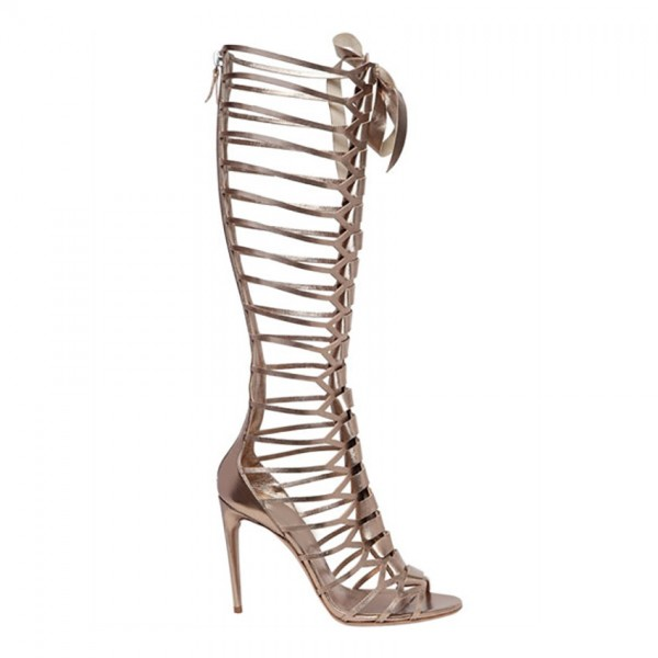 Women's Champagne Knee-high Stiletto Heel Sandals Gladiator Heels image 2
