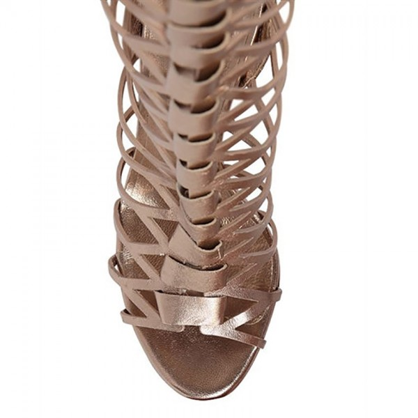 Women's Champagne Knee-high Stiletto Heel Sandals Gladiator Heels image 5