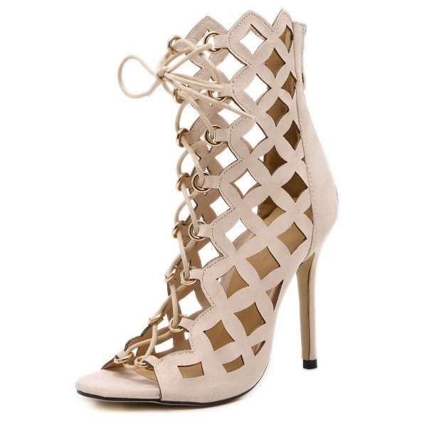 Beige Lace up Sandals Hollow out Open Toe Stiletto Heels for Women image 1