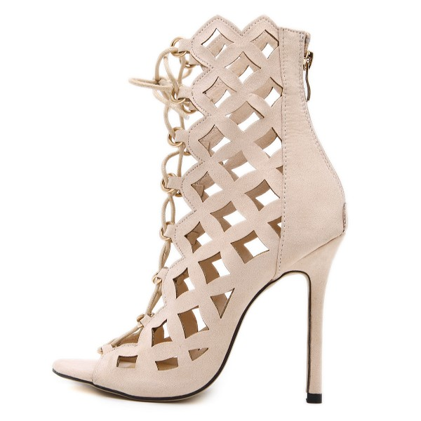 Beige Lace up Sandals Hollow out Open Toe Stiletto Heels for Women image 2