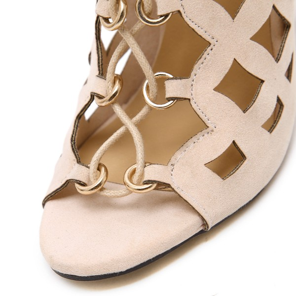 Beige Lace up Sandals Hollow out Open Toe Stiletto Heels for Women image 3