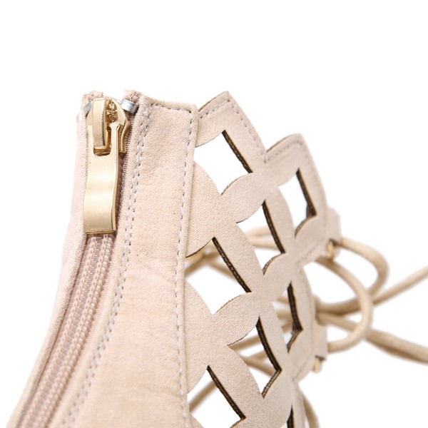 Beige Lace up Sandals Hollow out Open Toe Stiletto Heels for Women image 4