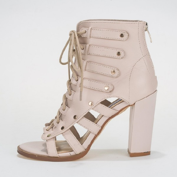 Beige Summer Boots Open Toe Lace up Chunky Heels image 3
