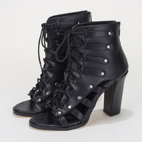 Black Summer Boots Open Toe Lace up Chunky Heels image 1