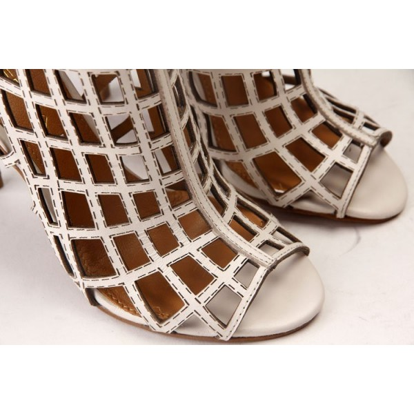Women's Beige Caged Hollow-out Stiletto Heels Sandals image 3