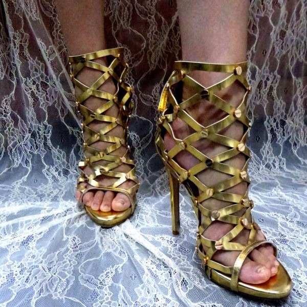 Women's Golden Gladiator Heels Hollow-out Stiletto Heel Sandals image 2