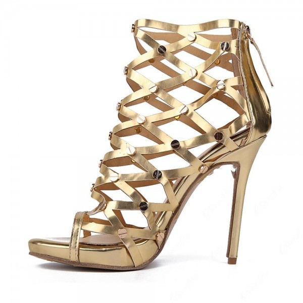 Women's Golden Gladiator Heels Hollow-out Stiletto Heel Sandals image 1