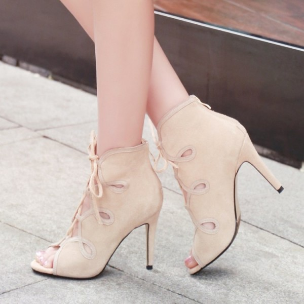 Beige Lace up Sandals Open Toe Stiletto Heels Summer Boots image 2