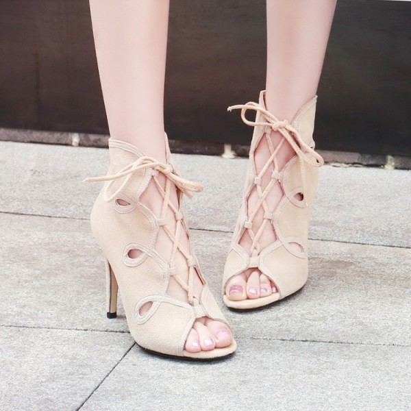 Beige Lace up Sandals Open Toe Stiletto Heels Summer Boots image 3