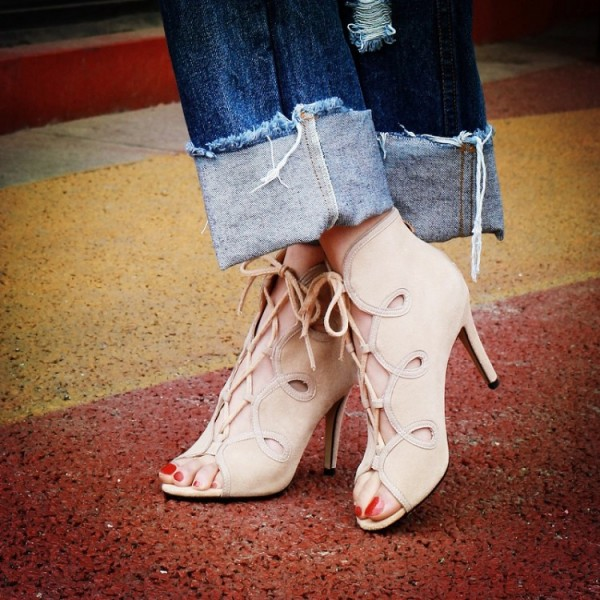 Beige Lace up Sandals Open Toe Stiletto Heels Summer Boots image 1