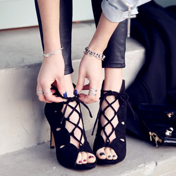 Black Lace up Heels Suede Peep Toe Stiletto Heels Pumps image 2