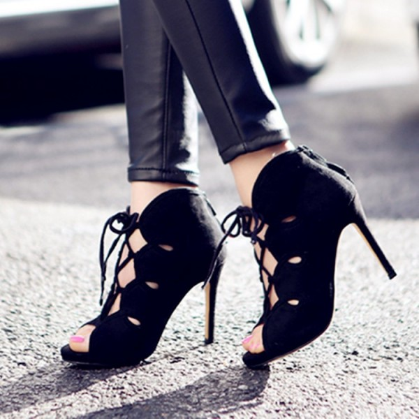 Black Lace up Heels Suede Peep Toe Stiletto Heels Pumps image 1