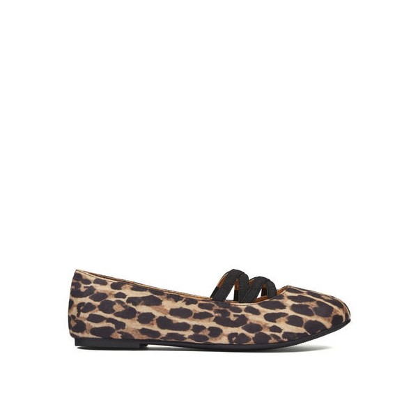 Women's Brown Round Toe Suede Leopard-print Flats image 2