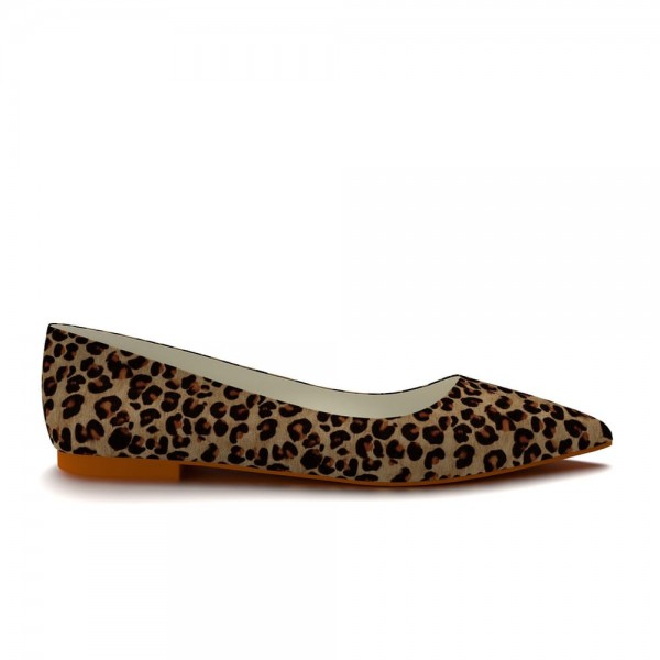 Women's Brown Suede Pointed Toe Leopard-print Flats image 2