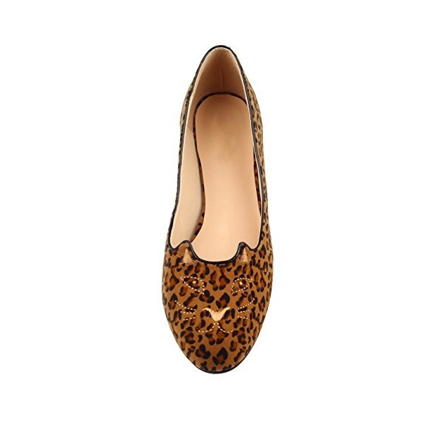 Women's Brown Suede Round Toe Leopard-print Flats image 2