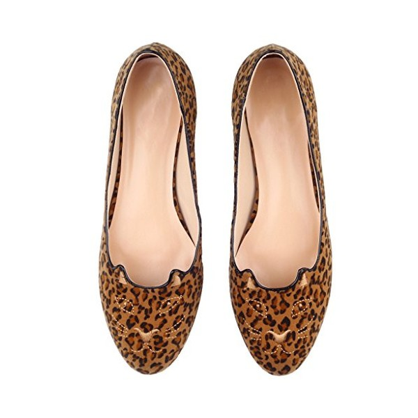 Women's Brown Suede Round Toe Leopard-print Flats image 4