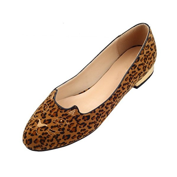 Women's Brown Suede Round Toe Leopard-print Flats image 1