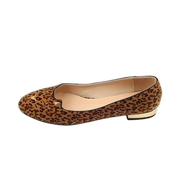 Women's Brown Suede Round Toe Leopard-print Flats image 3